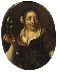 a peasant woman holding a glass of wine by ary de vois