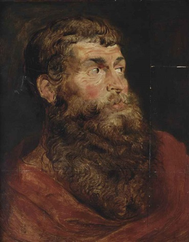 a tronie of a bearded man in a red robe a sketch by sir peter paul rubens