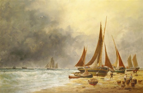 barques de pêche sur la grève by edouard the younger adam