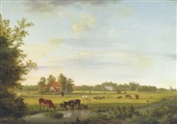 animals in the pasture with a mansion beyond by jan van ravenswaay