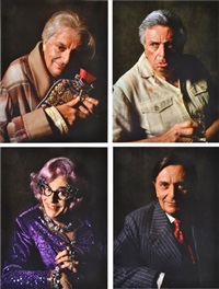 set of portraits of barry humphries and friends (4 works) by lewis morley