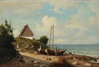 coastal scene from hellebæk, denmark by carl ludwig bille