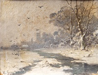 winter landscapes (pair) by heinrich gogarten