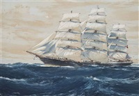 the australian clipper ship torrens under full sail by jack spurling