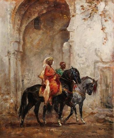 deux cavaliers orientaux près dune arcade by henri emilien rousseau