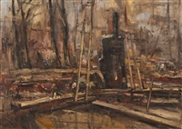 view of a building site in amsterdam by george hendrik breitner