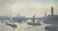 early morning, waterloo bridge by edward le bas