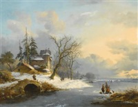 winter landscape with strollers and skaters by frederik marinus kruseman