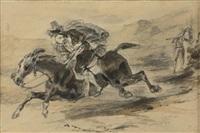 la fuite du contrebandier by eugène delacroix