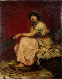 a classical lady, seated on a leopard skin rug by john william waterhouse