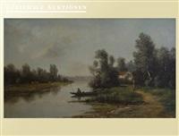 uferlandschaft mit boot, haus und figurenstaffage by alexandre félix leleu