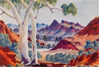 untitled (central australian landscape) by herbert raberaba