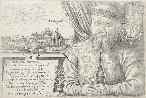 hieronymus schurstab brustbildnis mit st leonhard bei nürnberg im hintergrund by hans sebald lautensack