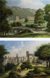 the west front of chatsworth house, derbyshire; and haddon hall, yorkshire, from the terraced south garden by j.h. hulse