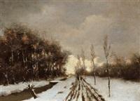 abendliche winterlandschaft by johan van hulsteyn