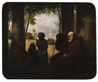 moines dans un paysage d'italie by ferdinand wachsmuth