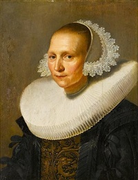portrait of a lady, bust-length, in black costume with gold brocade detail and a lace cap by johannes cornelisz verspronck