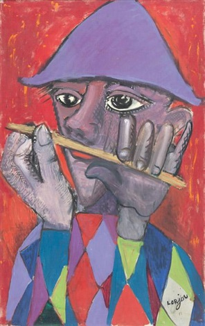 arlequin à la flûte by bernard lorjou