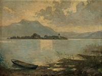 der chiemsee mit der fraueninsel by conrad pfau