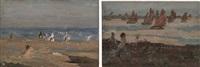 figure al mare (+ barche a vela; 2 works) by felice castegnaro