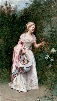 joven recogiendo flores by raimundo de madrazo y garreta