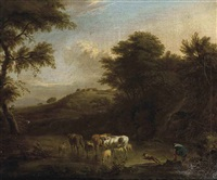 a wooded river landscape with a drover and his cattle by adriaen van de velde