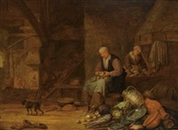 a barn interior with a woman peeling onions and another woman cleaning, a still life of pots, a copper jug and plates, cabbages, onions and fish in the foreground, a dog to the l by pieter symonsz potter