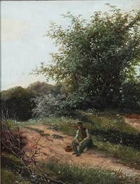 a wanderer resting on a forest road by david monies