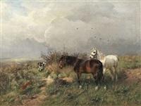 landschaft mit zwei pferden und jagdhund by ludwig benno fay