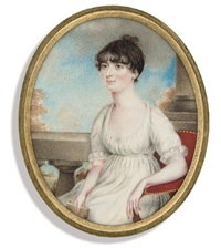 a lady, in white dress with short lace-bordered sleeves, seated by roger jean