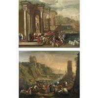 veduta di un porto con capriccio architettonico, figure e imbarcazioni (+ veduta costiera con figure e una torre sulla destra; pair) by alessandro salucci