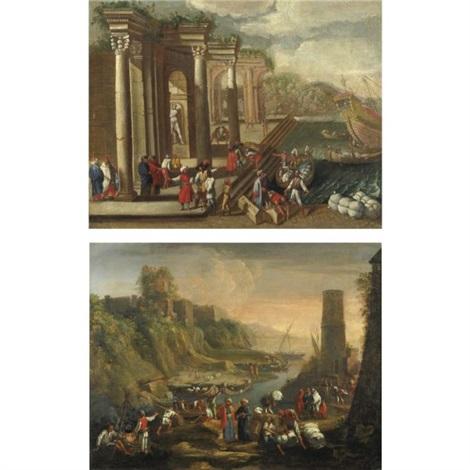 veduta di un porto con capriccio architettonico figure e imbarcazioni veduta costiera con figure e una torre sulla destra pair by alessandro salucci
