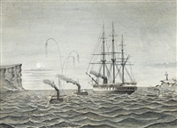 hms galatea passing the sydney heads with the pelican and emu in attendance by australian school