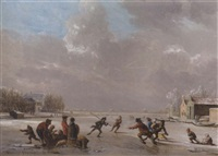 a winter landscape with skaters on a frozen river by vincent jans van der vinne