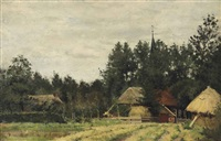 a farm in a wooded summer landscape by nicolaas bastert