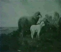 a ewe with her lamb in a landscape by thomas jose annunciacao