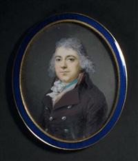 portrait d'un gentilhomme en redingote brune, cravate blanche et coiffé de mèches grises by georges antoine keman