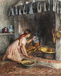 jeune fille à la cheminée by marius barthalot