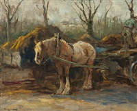 farmer with work horse in heeze by moricz goth