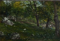 view of a forest in barbizon by théophile victor emile lemmens