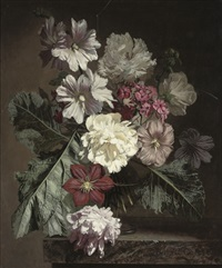phlox, peonies and hollyhocks by bennett oates