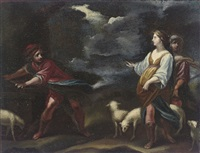 jacob and rebecca at the well by simone pignoni