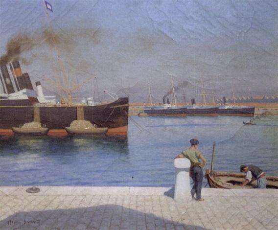 marin sur le quai dans le port de toulon by henry bouvet