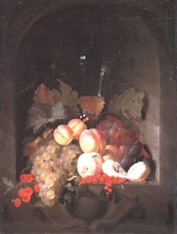 still life of covered glass cup, peaches, plums and other fruits by jan jansz heem the younger