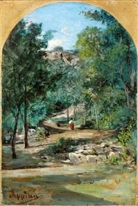 les environs de rix dans l'ain : promeneuses sur un chemin arboré (à vue cintrée) by adolphe appian