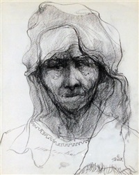 old woman with rebozo & huipil by john howard gould