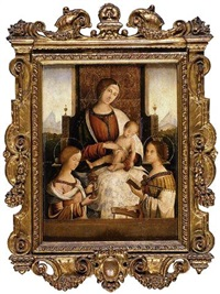 madonna and child with saints mary magdalene and catherine of alexandria by bernardino di bosio zaganelli