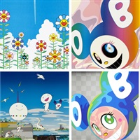 vapor trail/ and then rainbow/ planet 66/ melting dob a (set of 4) by takashi murakami