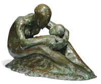 seated mother holding baby by stella shawzin