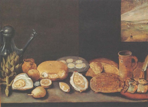 a still life with an artichoke a pewter jug oysters lemons a herring on a plate with bread all on a wooden ledge by hieronymus francken the younger